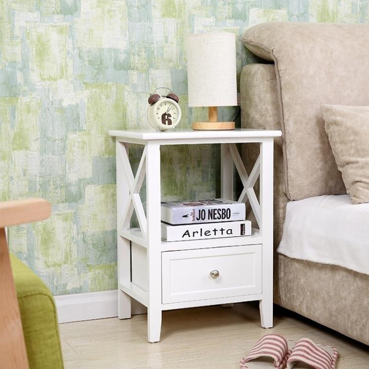 簡約現代整裝床頭櫃40cm白色經濟型窄床邊櫃臥室儲物櫃收納櫃歐式ATF