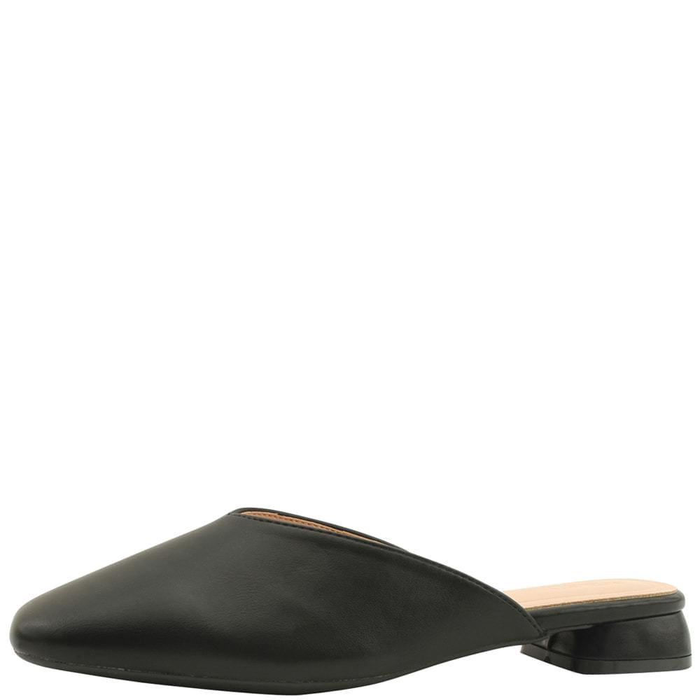 韓國空運 - Square Toe Low Heel Flat Mule Blower Black 樂福鞋