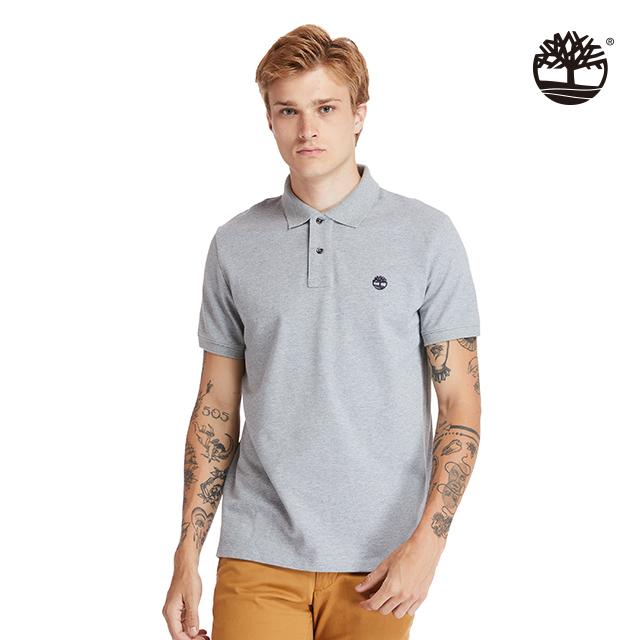 Timberland 男款中麻灰有機棉刺繡標誌短袖POLO衫|A2EGR052
