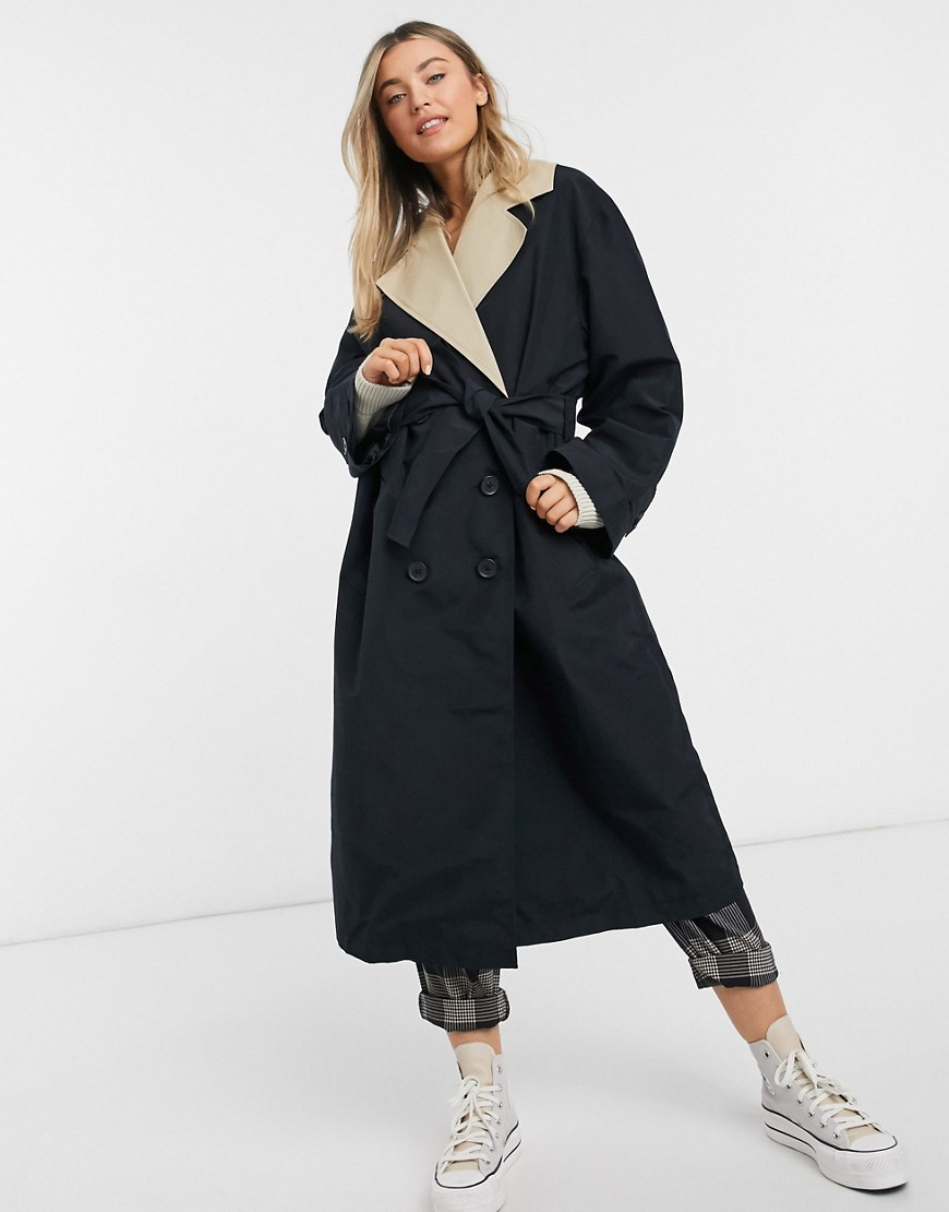 ASOS DESIGN contrast trench coat in stone and black