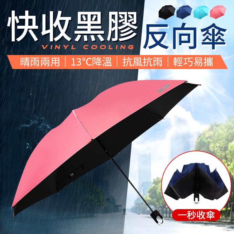 專利骨架回彈收傘 快收黑膠反向傘 大傘面雨傘 雨傘自動傘 自動傘 晴雨傘 遮陽傘 黑膠 雨傘
