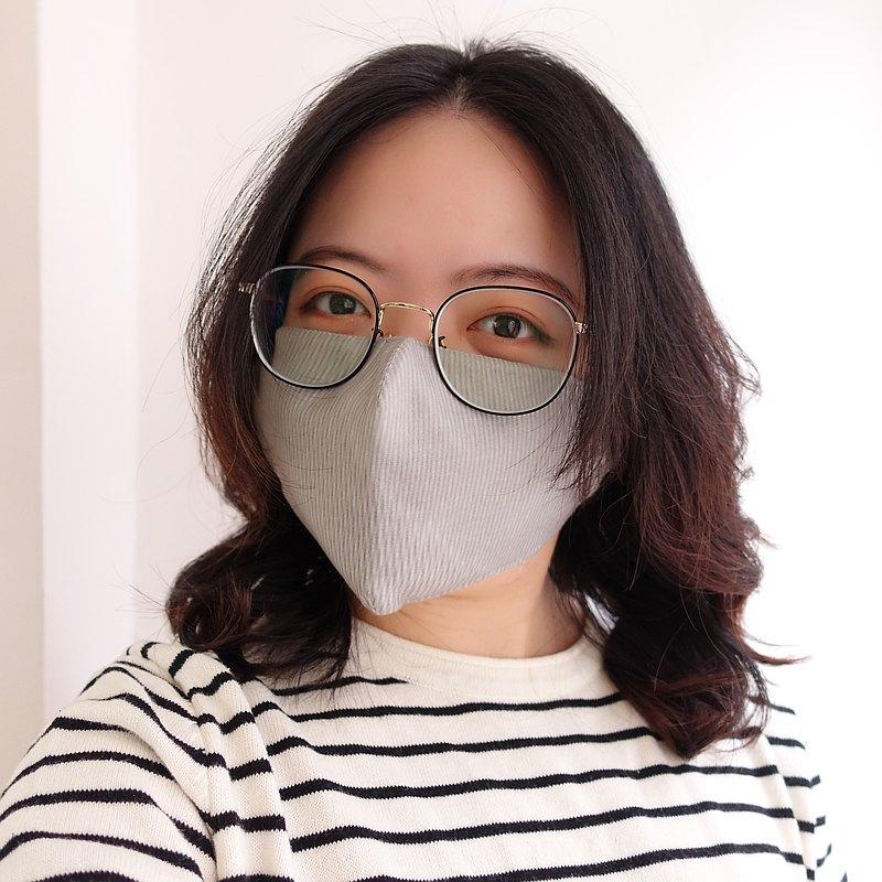雙層立體布口罩 可放濾材 / 銀灰線條
