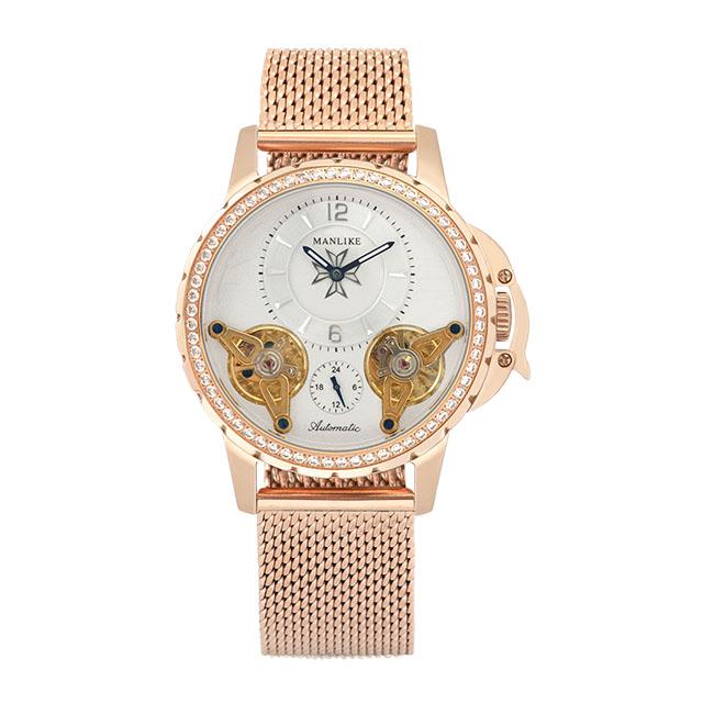 Manlike曼莉萊克晶鑽噴射雙渦輪限量米蘭帶機械錶(玫殻/玫帶)