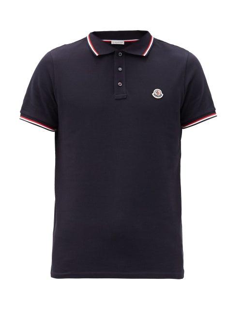 Moncler - Logo-appliqué Cotton-piqué Polo Shirt - Mens - Navy