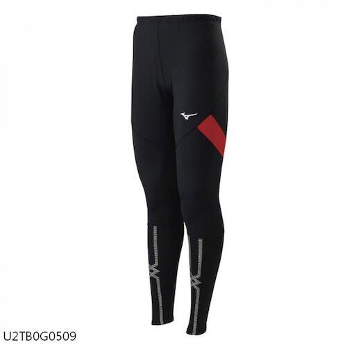 Mizuno [U2TB0G0509] 男 緊身褲 全長型 運動 吸汗 快乾 伸縮彈性 黑