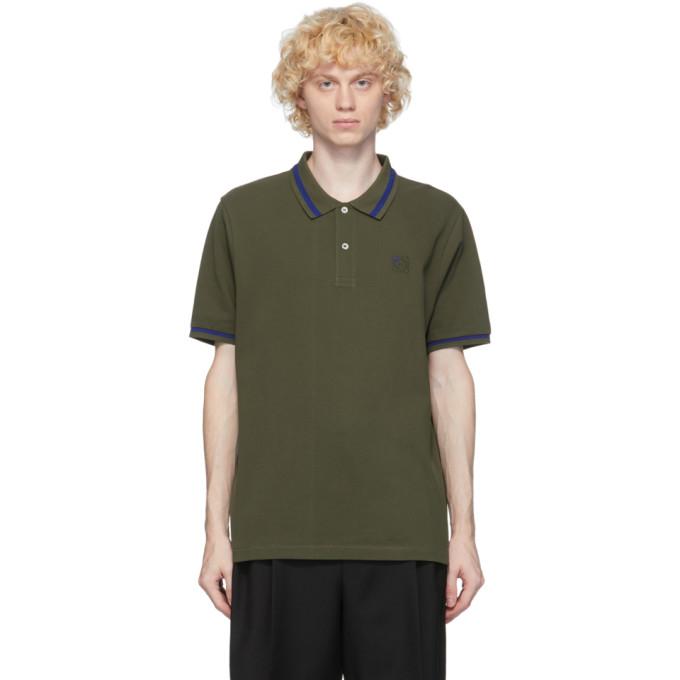 Loewe 军绿色 Anagram 刺绣 Polo 衫