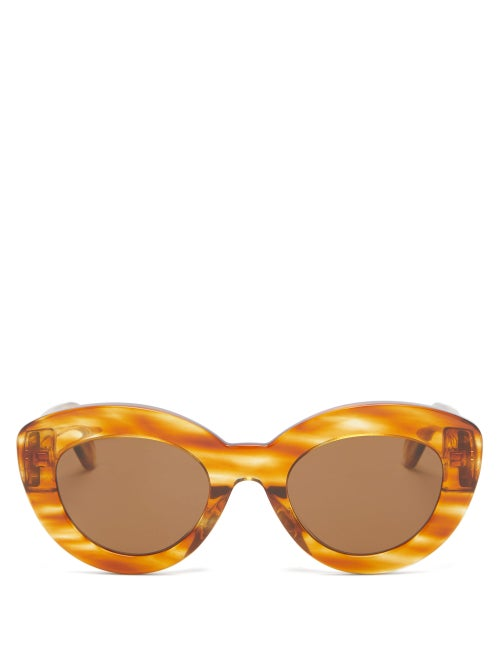 Loewe - Anagram-logo Cat-eye Acetate Sunglasses - Womens - Tortoiseshell