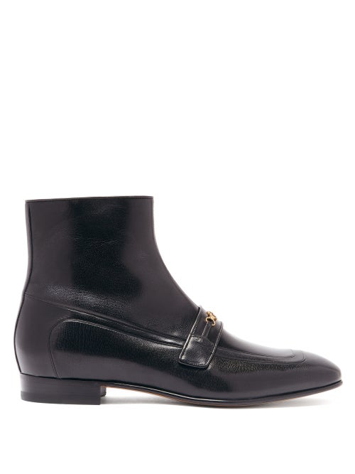 Gucci - Dracma Gg-logo Leather Boots - Mens - Black