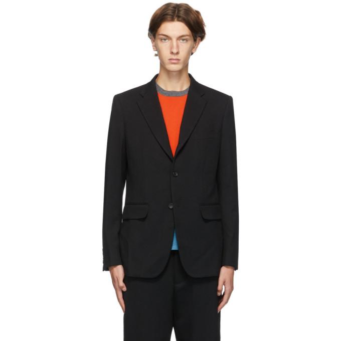 Comme des Garcons Homme Deux 黑色羊毛斜纹西装外套