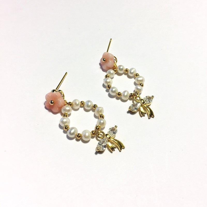 【若桑】花實。天然珍珠。鑲嵌鋯石。蝴蝶結。小櫻花。
