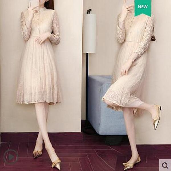 早秋冬裝年新款女潮時尚洋氣打底長袖小香風蕾絲洋裝子流行 晴天時尚
