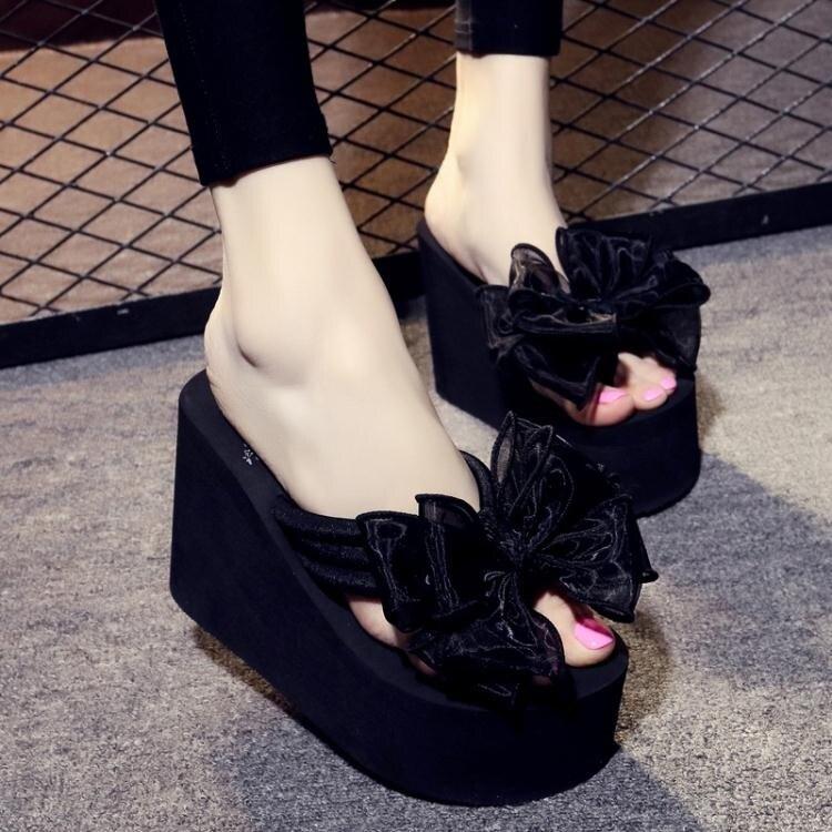 拖鞋厚底鞋超人字拖女防滑厚底沙灘鞋甜美蝴蝶結【免運】交換禮物