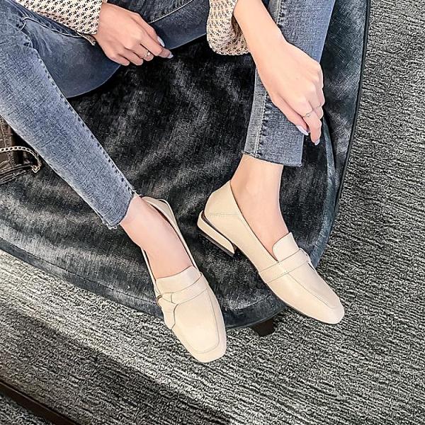 樂福鞋 小皮鞋女英倫風2021年春秋新款百搭學生一腳蹬樂福鞋粗跟平底單鞋 維多原創