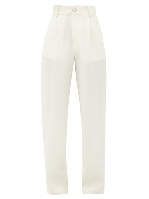 Edward Crutchley - Crystal-button Wool Straight-leg Trousers - Womens - Ivory