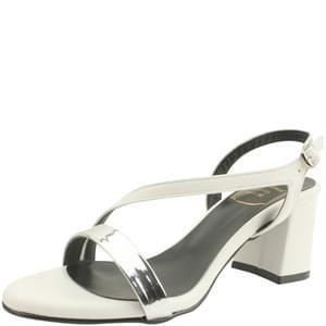 韓國空運 - Metal strap middle heel sandals white 涼鞋