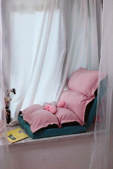 懶人沙發榻榻米單人飄窗折疊可愛臥室女小躺椅靠背椅子小型電腦椅-享家