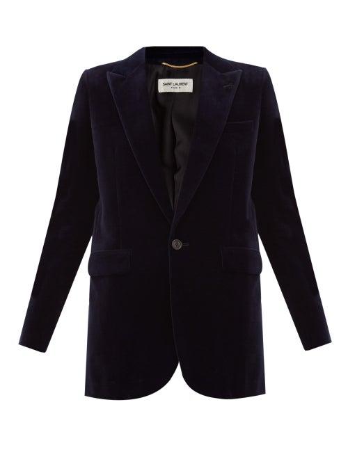 Saint Laurent - Single-breasted Cotton-velvet Jacket - Womens - Navy