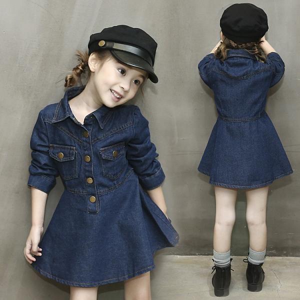 女童牛仔洋裝 兒童裝女童春秋牛仔3連身裙4春天5小孩6春裝公主裙子新款 艾維朵