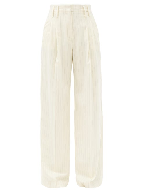 Racil - Maxime Pinstriped Wool-blend Wide-leg Trousers - Womens - Ivory