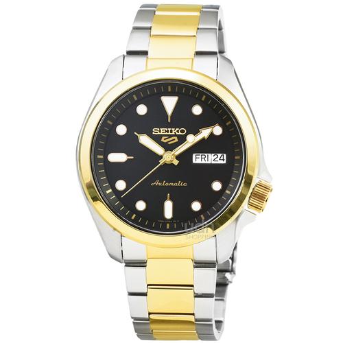 SEIKO精工次世代5號機械鋼帶腕錶-中金黑面 / SRPE60K1