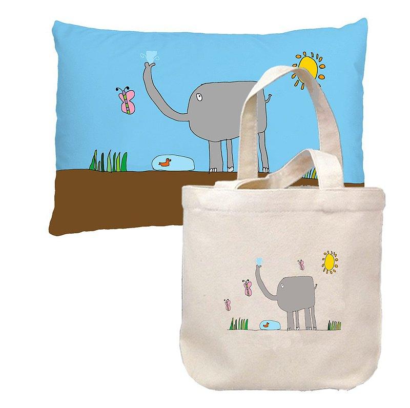 (客製商品)塗鴉小抱枕+小手袋組合包