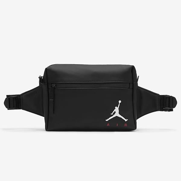 NIKE 腰包 JORDAN 消光黑 白紅LOGO 休閒 側背包 隨身包 (布魯克林) DB8211010-023