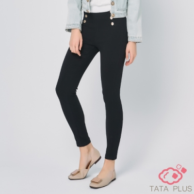 造型雙排扣合身長褲 TATA PLUS-(M~2XL)