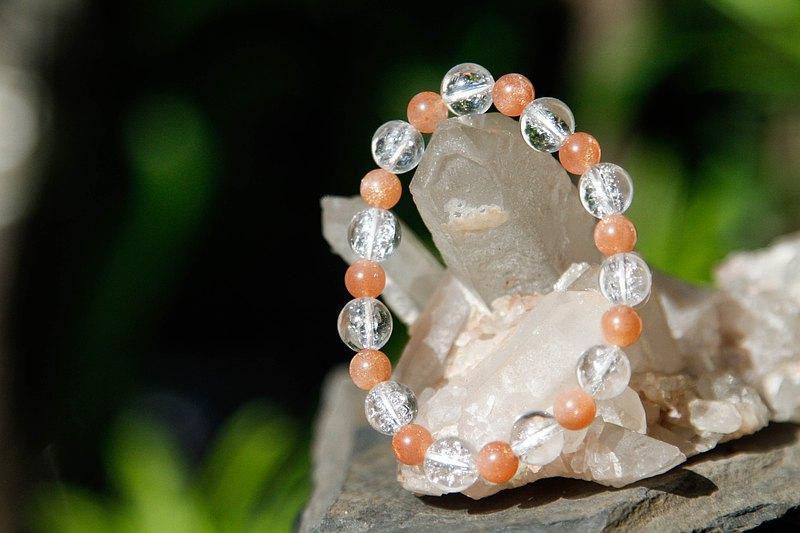 【手環系列】6mm太陽石手環+8mm喜馬拉雅白水晶 (歡迎客製)