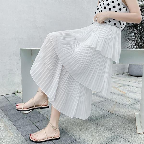 蛋糕裙 實拍半身裙女松緊腰夏季高腰顯瘦中長款a字裙黑白色百褶蛋糕裙子