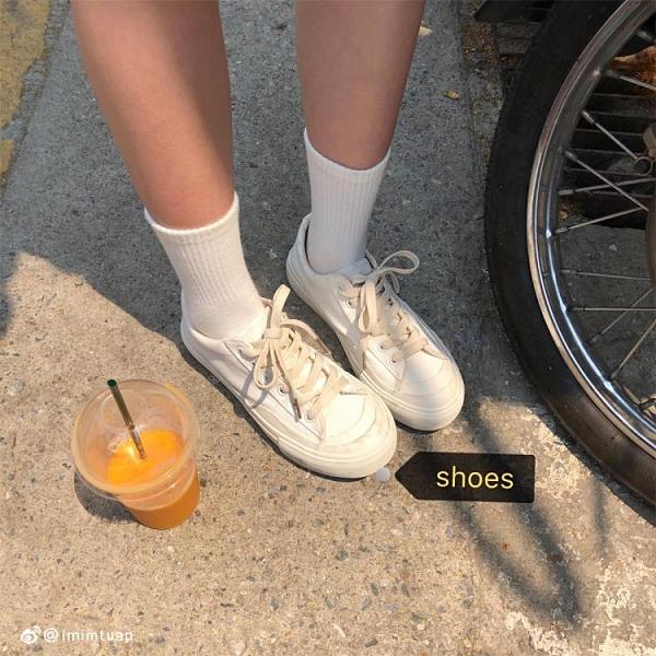 帆布鞋 正韓小白復古學生帆布鞋低筒百搭ulzzang白鞋女夏-Ballet朵朵