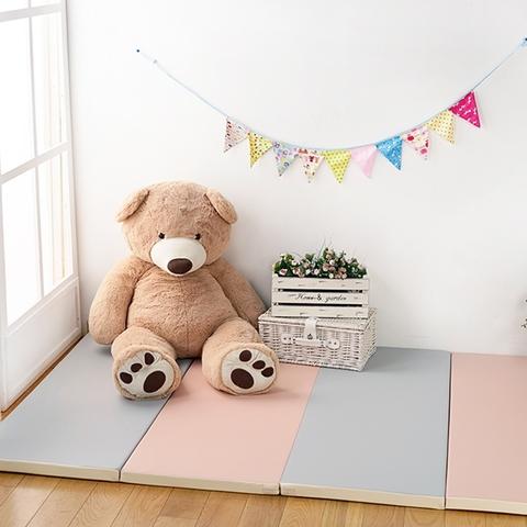 韓國HANPLUS 寶寶爬爬墊四摺(遊戲地墊/摺疊地墊/無毒地墊)-浪漫粉紅灰