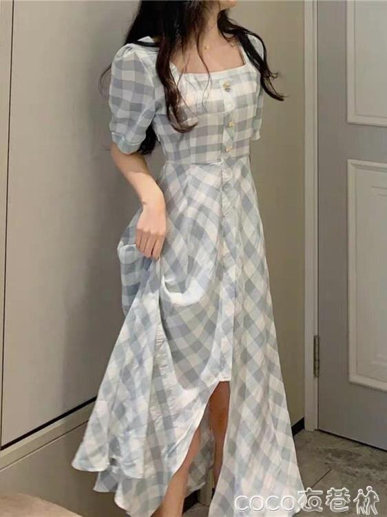 【樂天優選】雪紡洋裝法式復古方領森系新款前開叉氣質收腰顯瘦雪紡連身裙女夏季長裙子