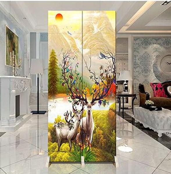中式小屏風隔斷客廳行動折屏裝飾簡約時尚小戶型雙面折疊布藝拼風 『向日葵生活館』