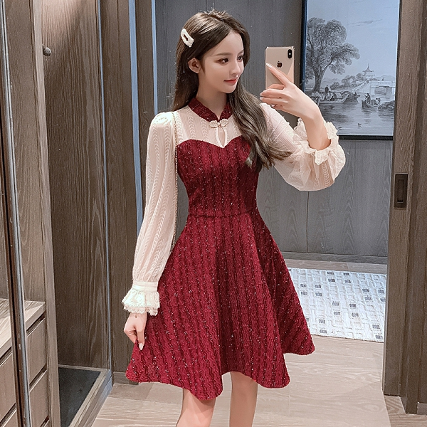 第二件4折 韓系豎條紋氣質蕾絲拼接裙收腰長袖洋裝