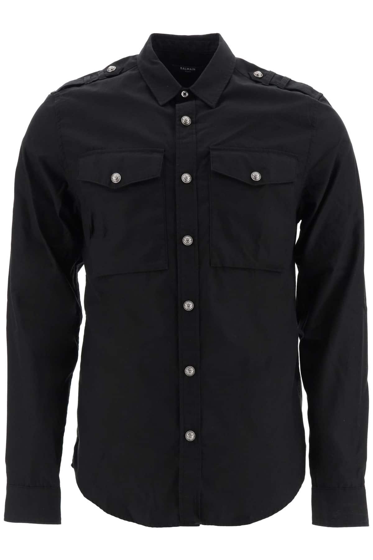 BALMAIN COTTON SHIRT WITH LOGO 40 Black, White Cotton