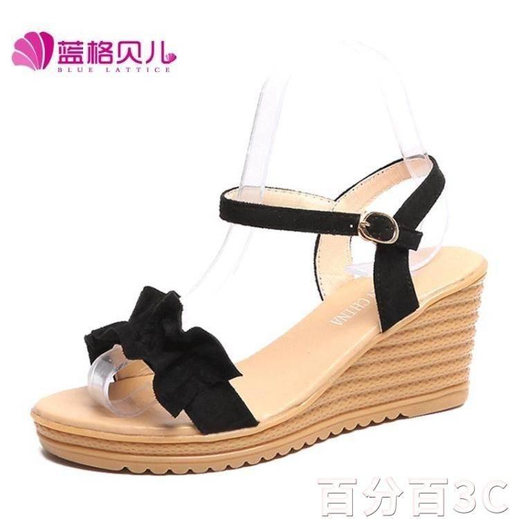 坡跟涼鞋 木耳邊涼鞋女坡跟夏天正韓百搭一字扣羅馬鞋舒適高跟女鞋  微愛家居