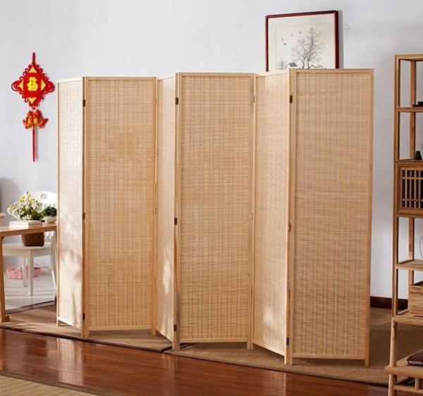 3扇現代簡約行動中式竹編屏風隔斷摺疊客廳簡易臥室酒店推拉美容院用qm 向日葵