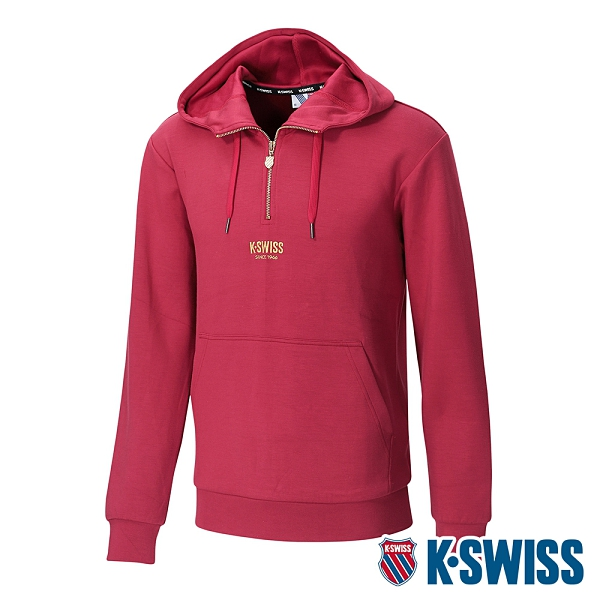 K-SWISS Semi Zip Open Hoodie連帽上衣-女-櫻桃紅