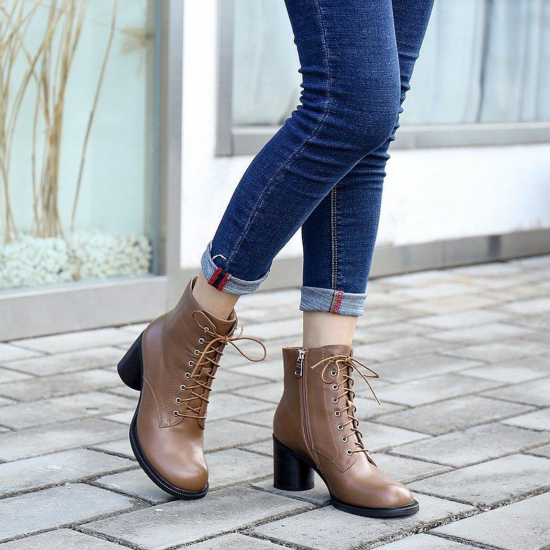 黑色馬丁靴前繫帶便捷側拉鍊真皮女鞋高跟女靴