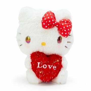Hello Kitty 絨毛玩偶娃娃《S.紅白.抱愛心》擺飾.玩具