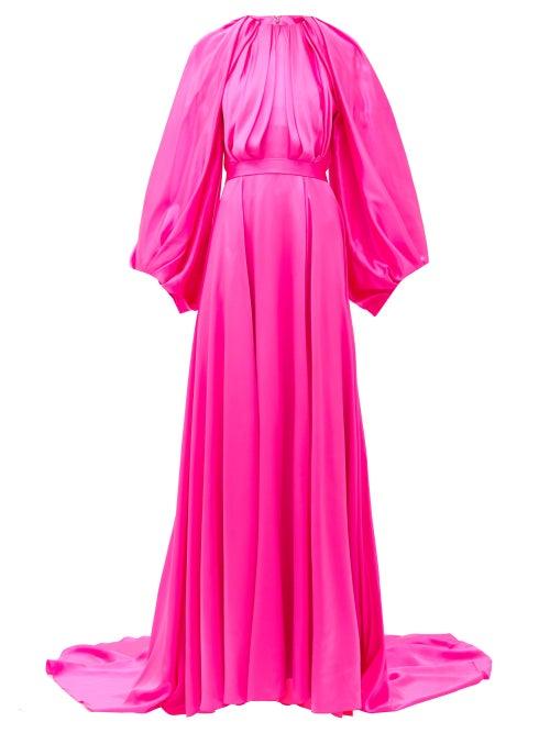 Halpern - Balloon-sleeve Silk-satin Gown - Womens - Pink