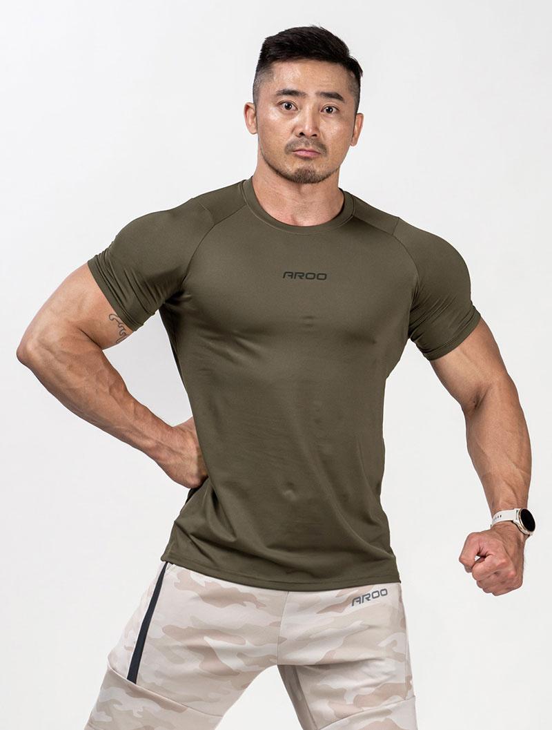 *夢多推薦*[台灣 AROO] 拉克藍袖訓練短T (軍綠)