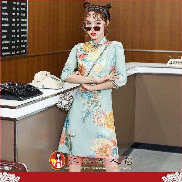 【水水女人國】~優雅氣質中國風~青山。復古原創冰雪絨印花時尚改良式修身顯瘦日常百搭七分袖俏麗前開衩短旗袍洋裝