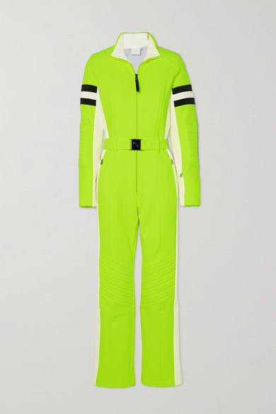 Bogner - Cat 配腰带条纹荧光弹力双罗纹连体滑雪服 - 亮绿色 - FR34