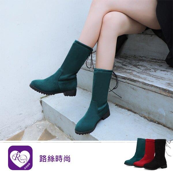 【快速出貨】韓系甜美浪漫素面綁帶圓頭方跟中長靴/3色/35-43碼 (RX1233-Z8-8) iRurus 路絲時尚