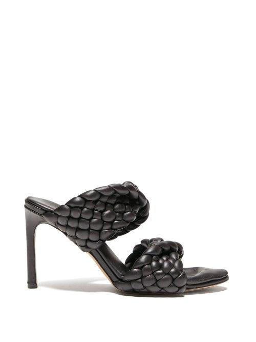 Bottega Veneta - The Curve Padded Intrecciato Leather Mules - Womens - Black