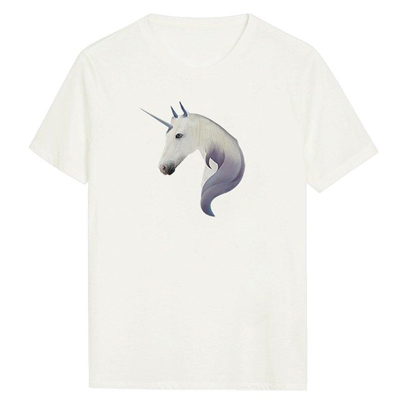 獨角獸 男女同款 約翰彩虹 基本款Tee  情侶裝禮物 白色短袖T恤