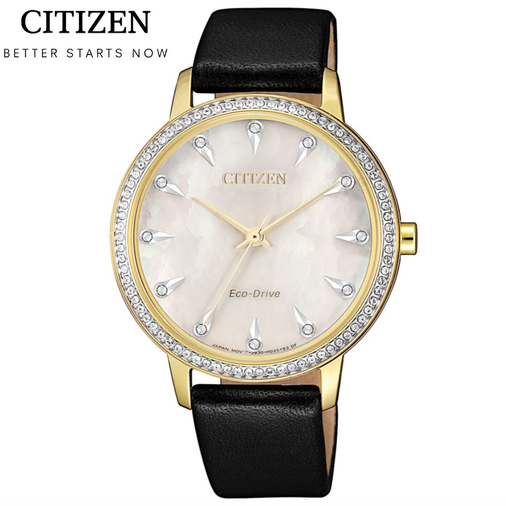 CITIZEN星辰錶 LADY'S系列 光動能閃耀晶鑽女錶 FE7042-07D 燦金/35.5mm