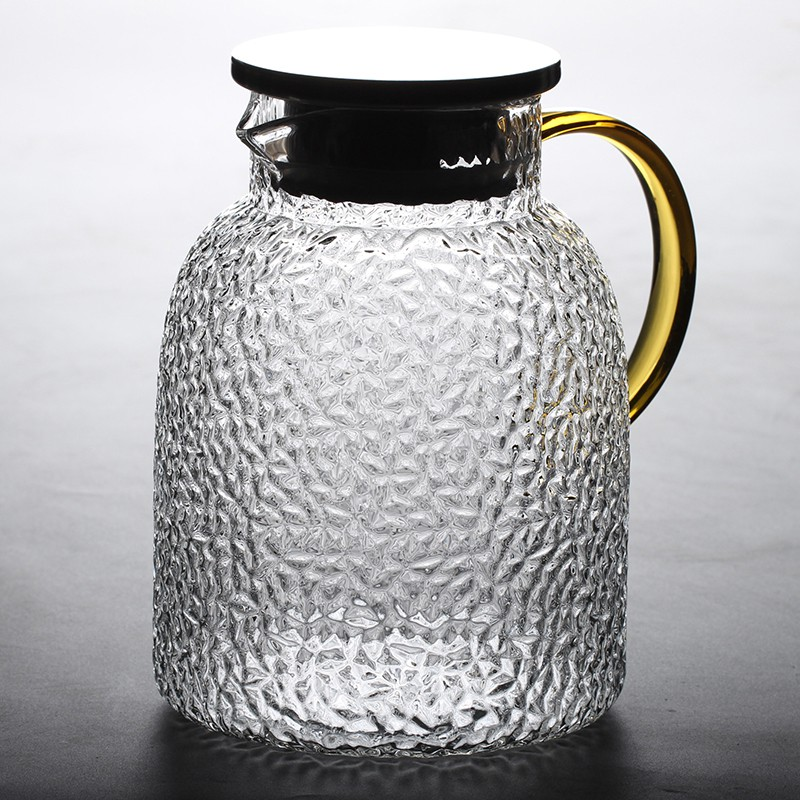 耐熱玻璃冷水壺耐高溫涼水壺家用大容量水壺錘紋圓柱壺果汁壺1800