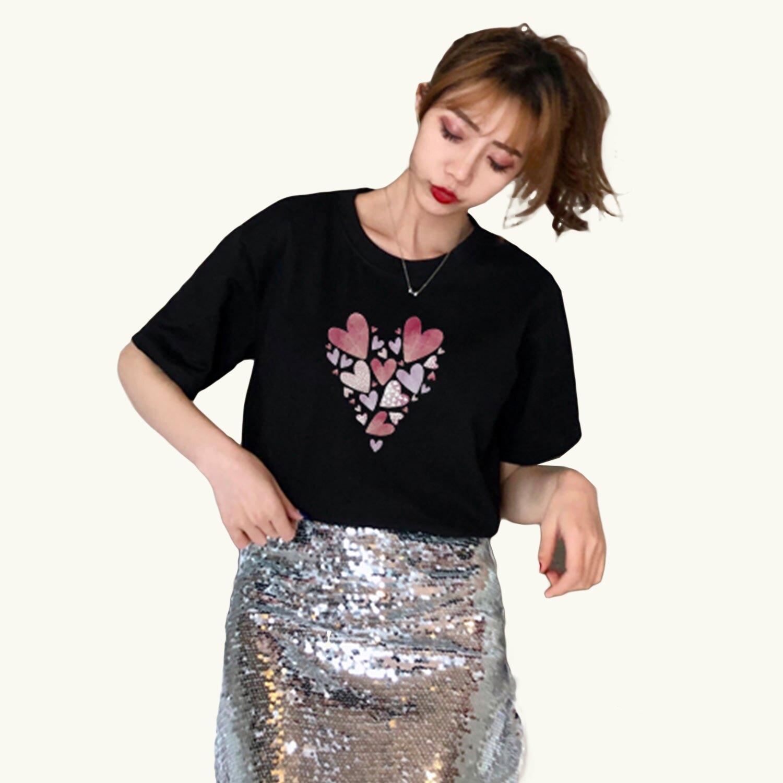 棉T--可愛溫馨簡約多重愛心組合印圖素面圓領短袖T恤(白.黑L-3L)-T442眼圈熊中大尺碼